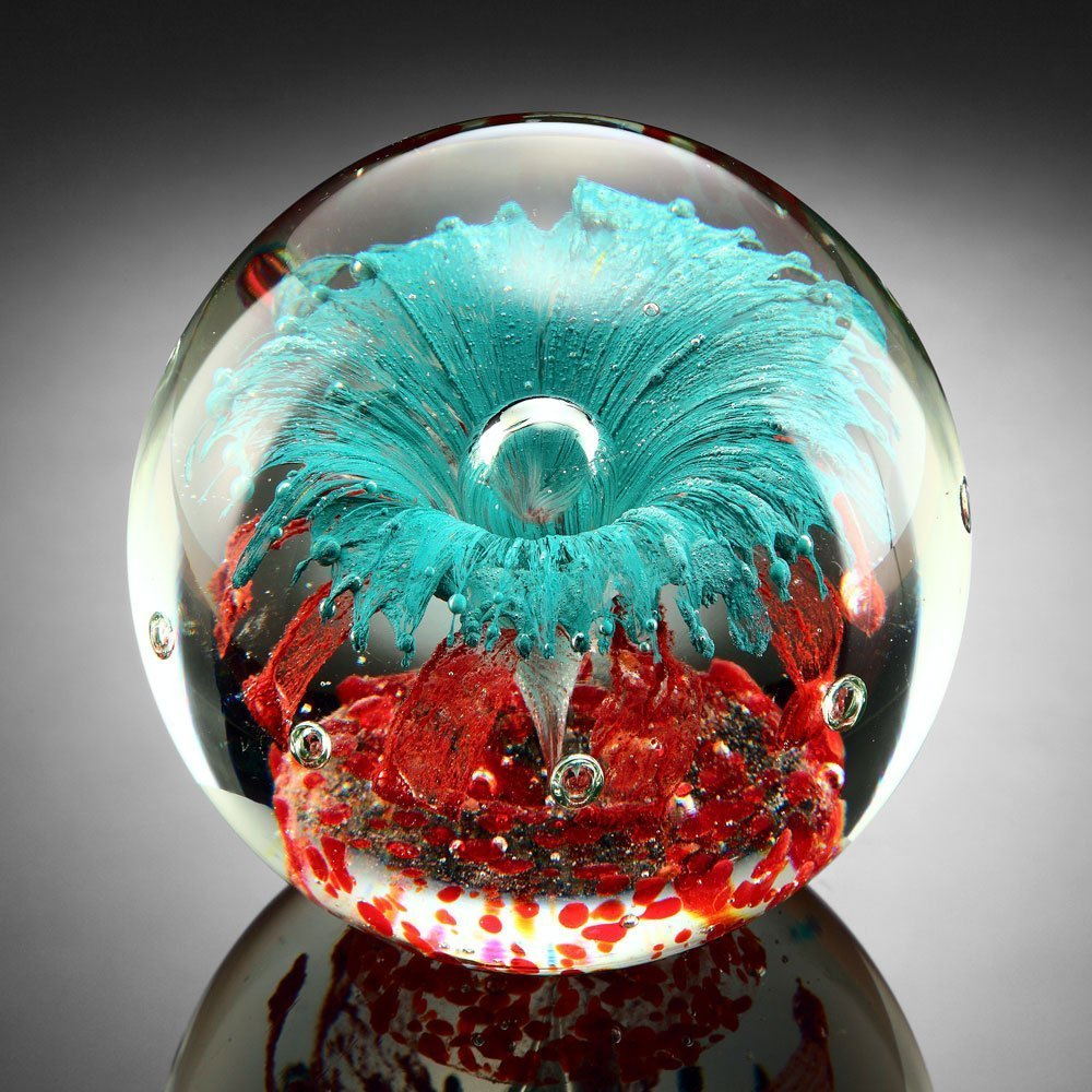 Teal Explosion Paperweight Glass Sphere 5''