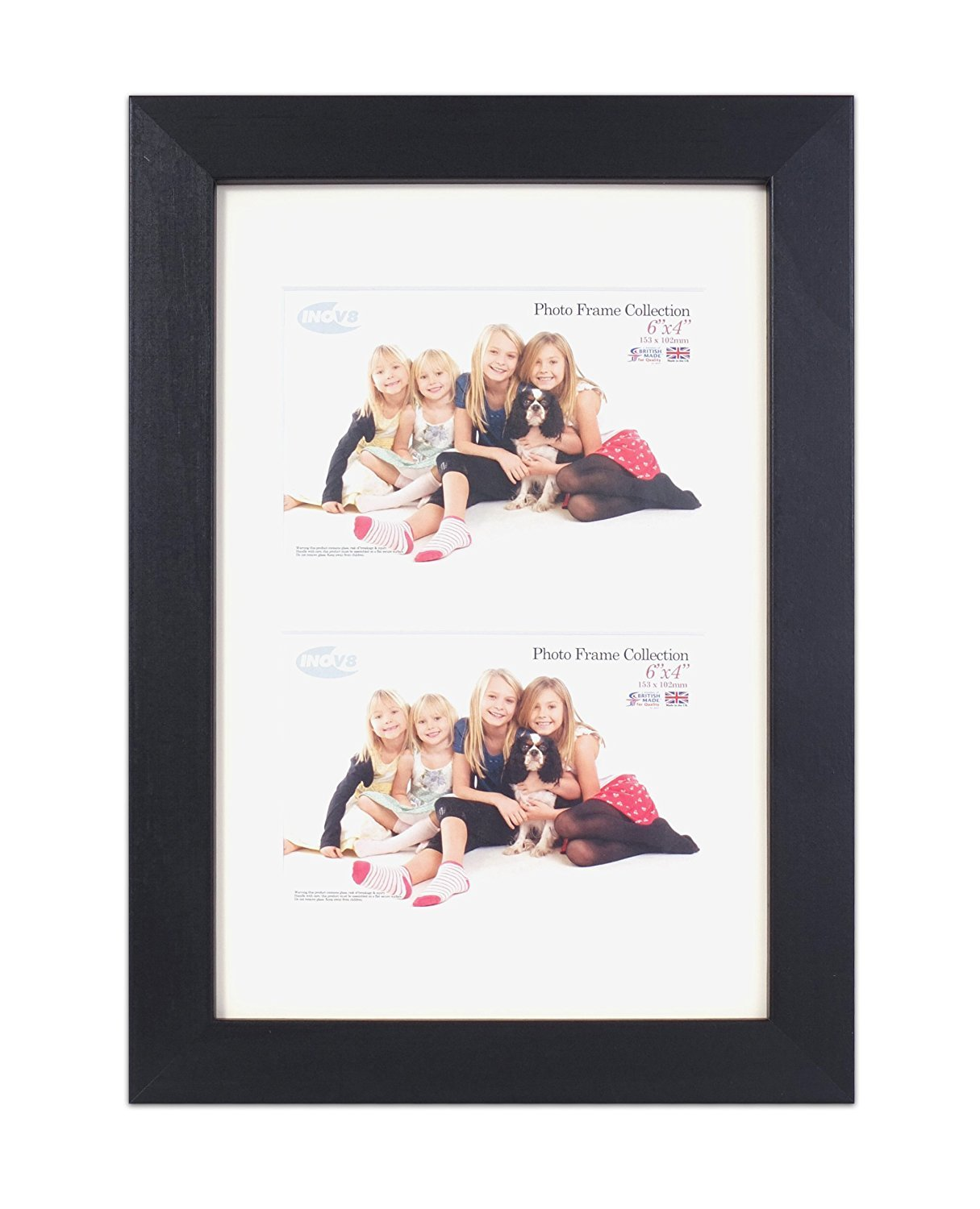 Inov8 British Made Real Wood Picture/Photo Frame, 12x8 Dual Aperture ...