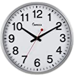 Impecca Non Ticking 18-Inch Extra Large Railway Wall Clock, Silver