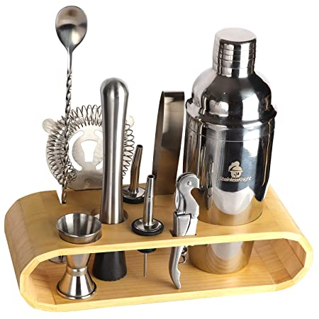 Stainless Knight Stainless Steel Cocktail Shaker Drink Maker Includes Stirring Spoon, Measuring Jigger, Ice Tongs, Hand Mixer, Bottle Opener, Hawthorne Strainer, Stand, Portable Bartend