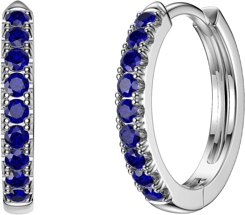 Charmisma Boucles doreilles cr/éoles en argent plaqu/é platine avec saphir bleu