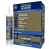 GE Max Shield All Weather Siliconized Acrylic Latex Sealant Caulk, Off White, 10.1oz