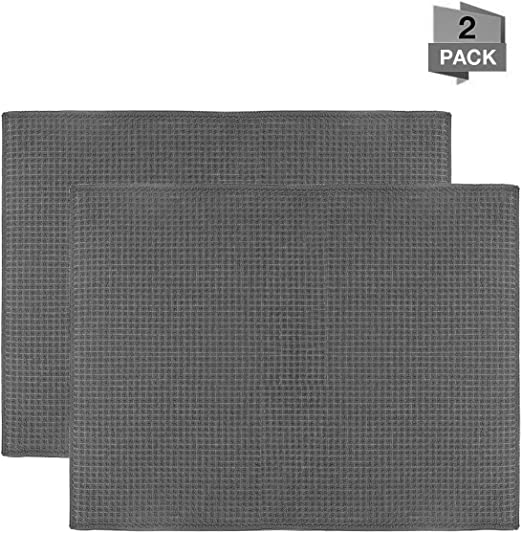 Amazon Com Qulable Dish Drying Mat Microfiber Dry Pad Quick Drying Dish Drainer Board Mat For Kitchen Counter Top Tabletop Accessories Machine Wash 2 Pack Grey Kitchen Dining