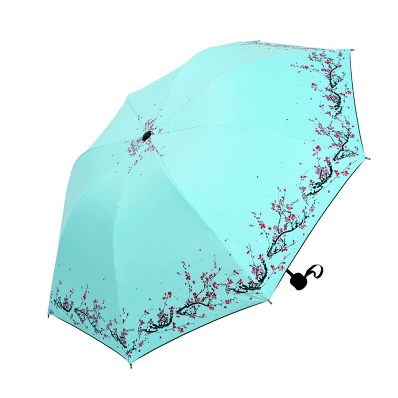 Amazon.com : Sallyealiy NEW Creative Plum Sun Umbrella Three Folding Black Rain Umbrella 6D 1 : Sports & Outdoors