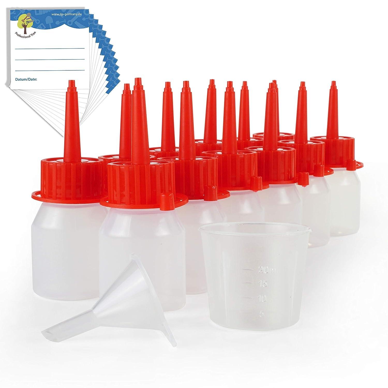 ProfessionalTree® flaconcini contagocce da 12x30 ml con imbuto, misurino, 12 etichette - conservare e dosare sostanze liquide - qualità LDPE iLP GmbH