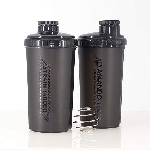 Protein Shaker 700ml de Amando Pérez • Shaker de Proteínas, Mezclador de Proteinas para batidos de toda clase • Con escala medidora y tapón de rosca • ...