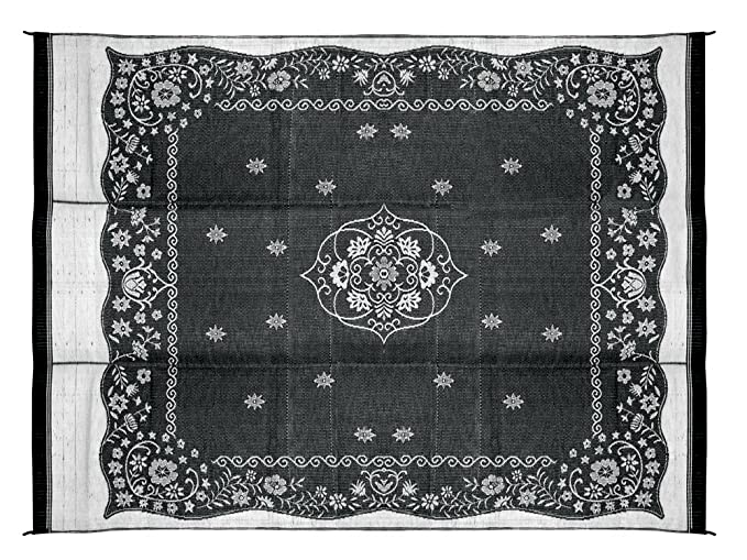 Camco Large Reversible Outdoor Patio Mat - Mold and Mildew Resistant, Easy to Clean, Perfect for Picnics, Cookouts, Camping, and The Beach (9' x 12', Charcoal Oriental Design) (42853)