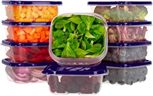 Oursson Food Storage Containers with Lids Airtight, BPA Free, Lunchbox – Reusable and Practical – Transparent Snack Containers with Colored Lids (10 x 14 oz, Purple)