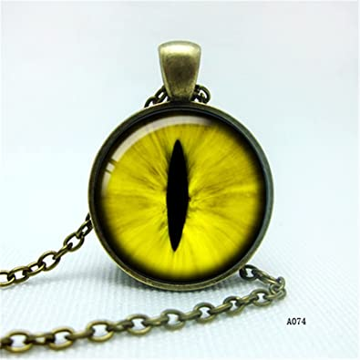 b1795243a395ab Amazon.com: Yellow Cats Eye Necklace - Eye Pendant - Silver Picture ...