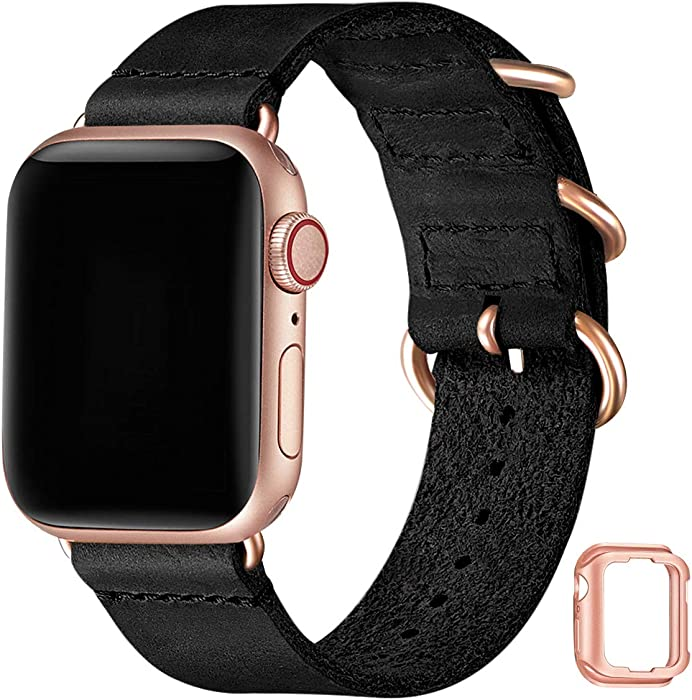 Vintage Leather Bands Compatible with Apple Watch Band 38mm 40mm 42mm 44mm,Genuine Leather Retro Strap Compatible for Men Women iWatch SE Series 6/5/4/3/2/1(Black+Rose Gold connector,38mm 40mm)