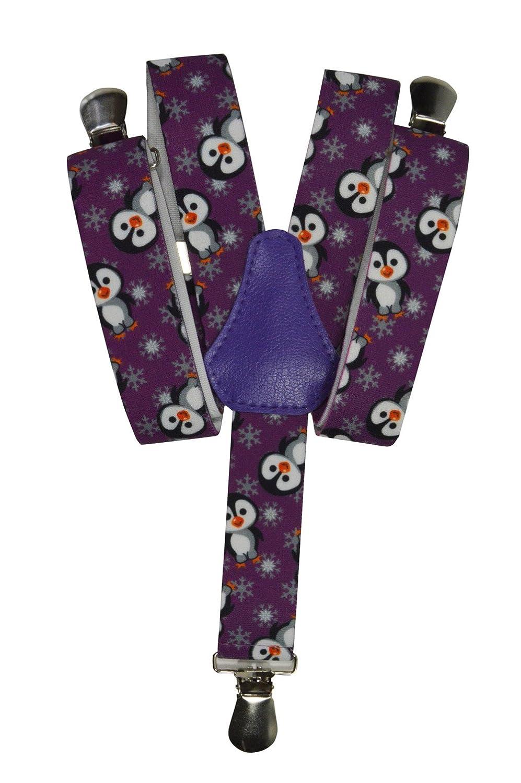 Olata Bretelles entièrement réglable pour les enfants 1-5 ans - Manchot motif KIDSBRACESJpenguin-blue