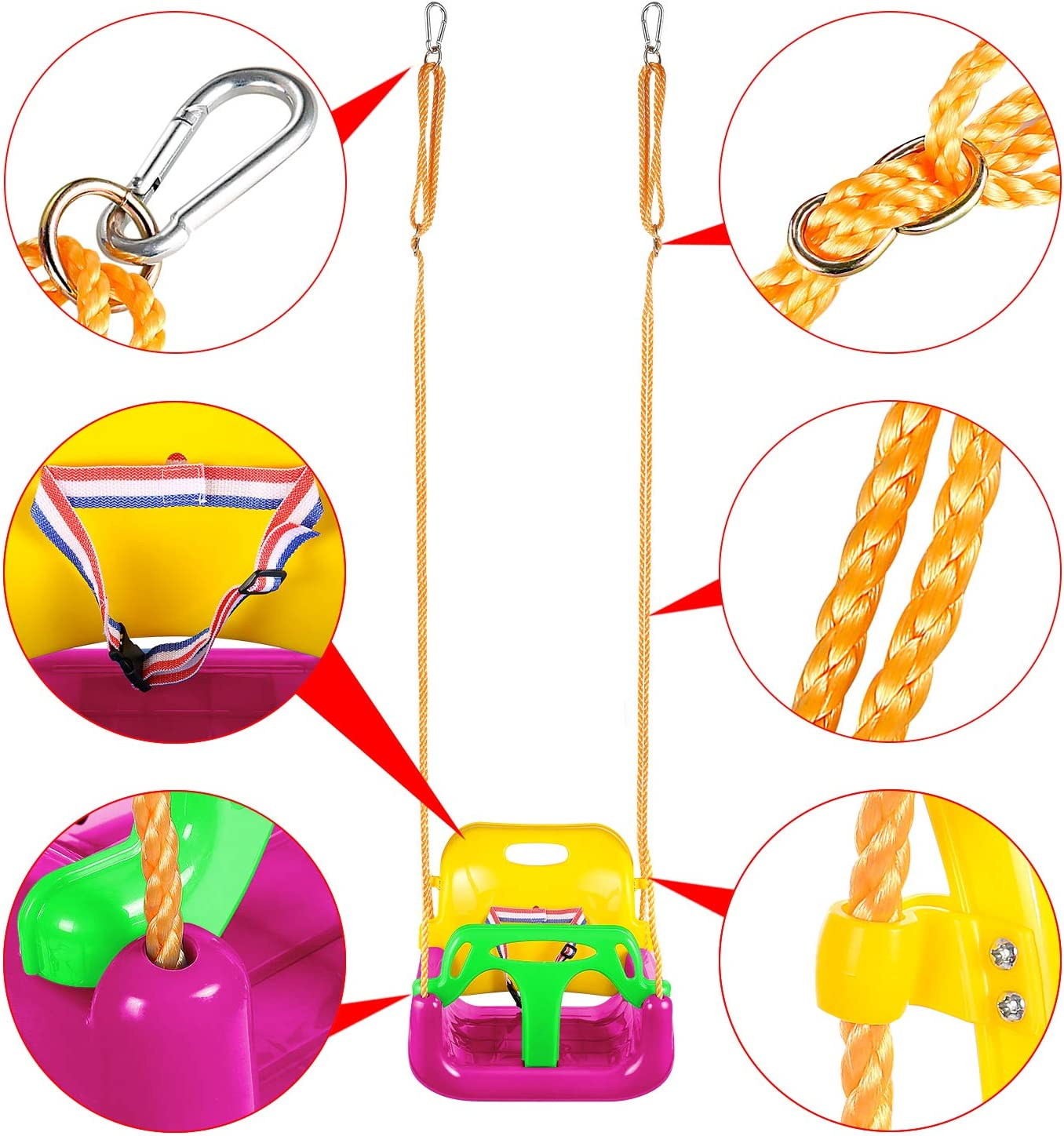 Pink Flyerstoy 3-in-1 Toddler Swing Seat Infants to Teens Hanging Swing Set for Playground Swing Set