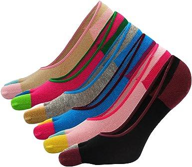 Panegy - (Pack de 6 pares Calcetines para Mujer de 5 Dedos de pies Invisible Calcetines de Algodón Antideslizantes para Deportes Yoga Ciclismo - 06: Amazon.es: Ropa y accesorios