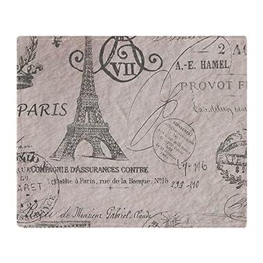 CafePress Vintage Paris Eiffel Tower Scripts Soft Fleece Throw Blanket, 50 x60  Stadium Blanket