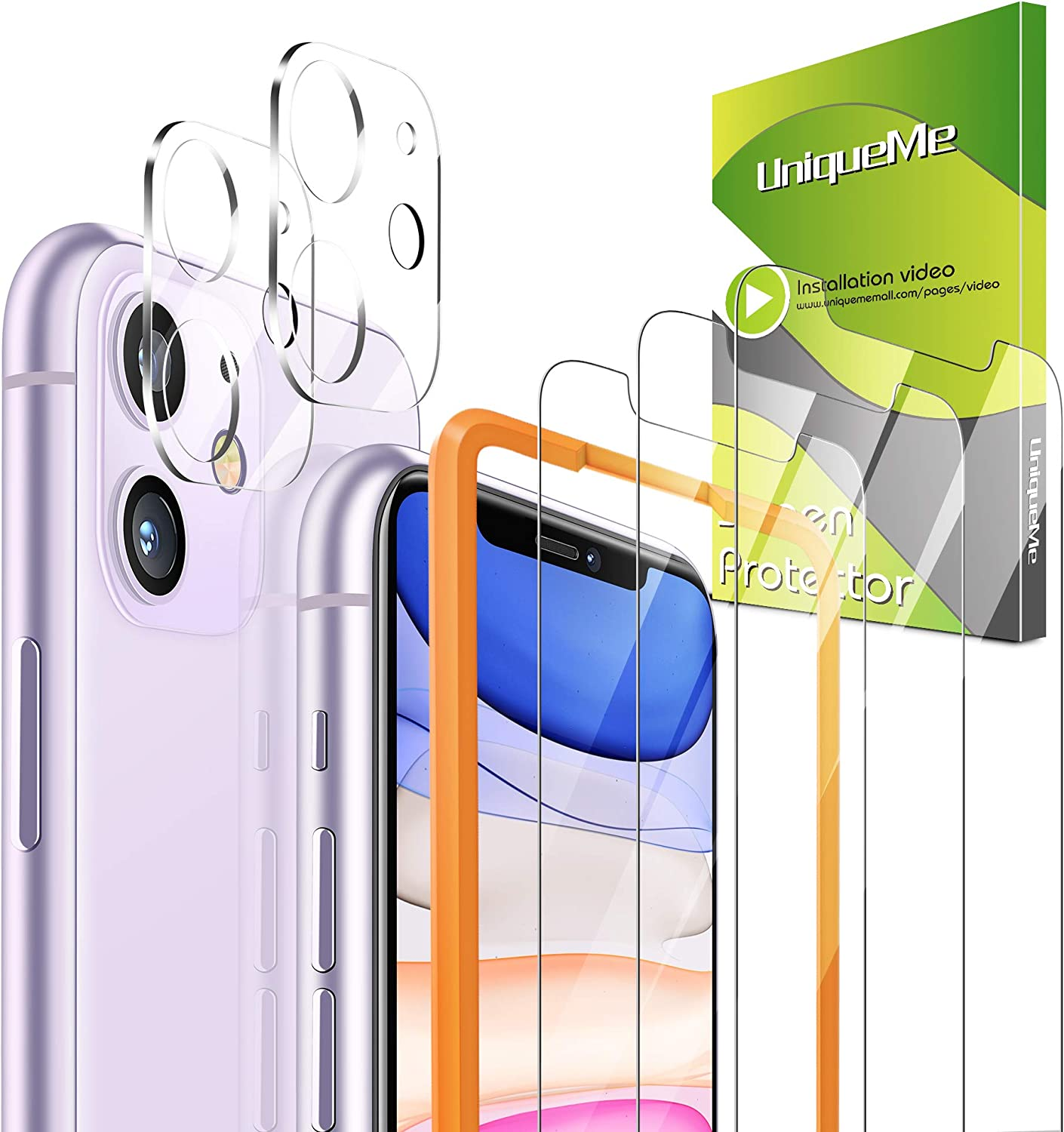 [5 Pack] UniqueMe 3 Pack Screen Protector for iPhone 11【6.1 Inch】 Tempered Glass [Alignment Frame]+ 2 Pack Camera Lens Protector for iPhone 11 [Bubble-Free][Case Friendly]