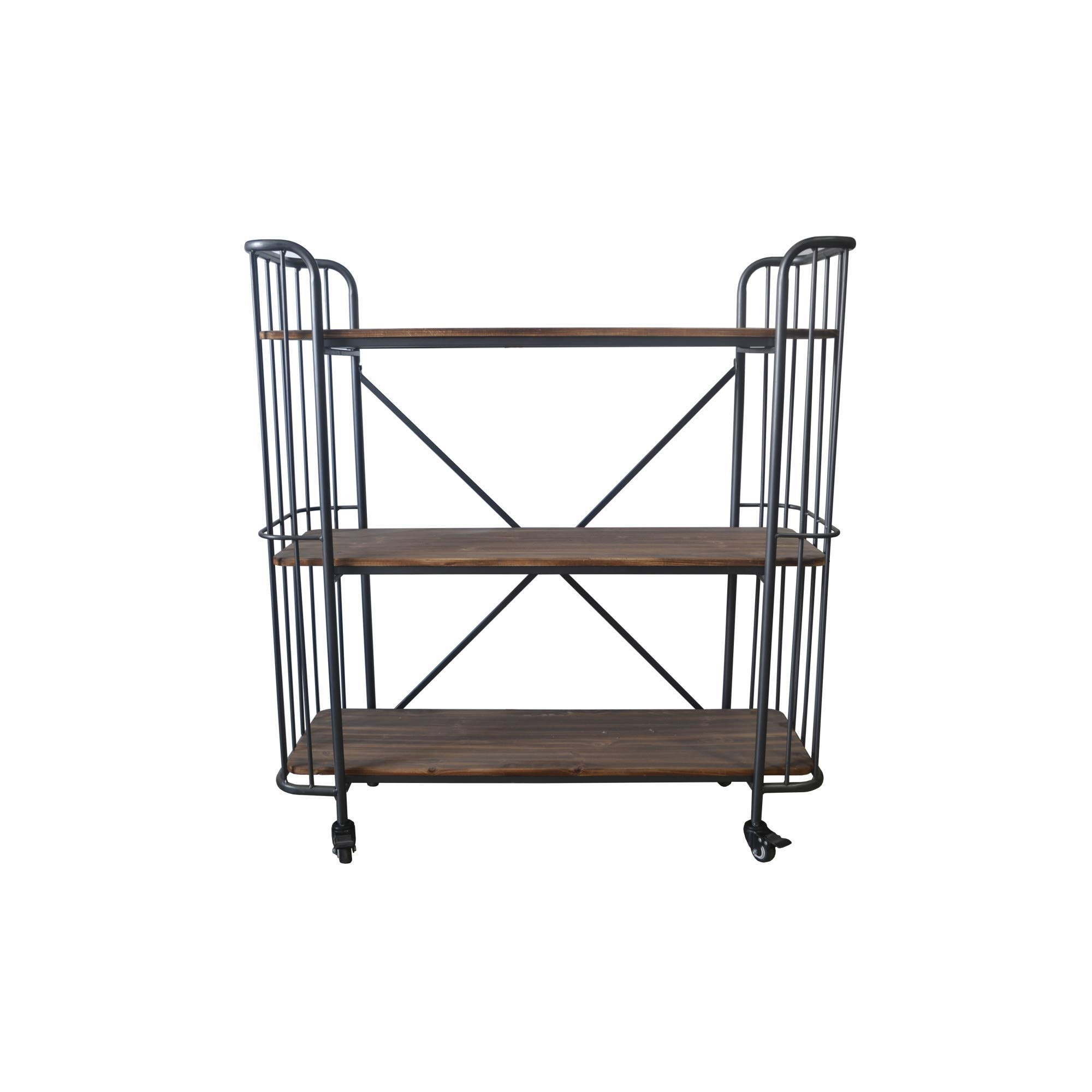 Herrera 41.73'' Bookcase in Dark Gray with Casters, Shaped Tubular Steel Frame And Three Solid Wood Shelves, by Artum Hill