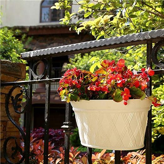 LanLan Maceta de Planta de plástico Trenzada de ratán, Maceta Colgante decoración de Patio/jardín 30.5 * 17.5 * 22 Verde: Amazon.es: Hogar