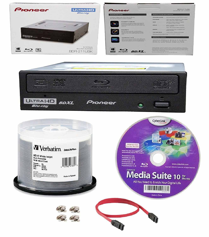 Pioneer 16x BDR-211UBK Internal Ultra HD Blu-ray BDXL Burner, Cyberlink Software and Cable Accessories Bundle with 50pk BD-R Verbatim 25GB 6X DataLifePlus White Inkjet, Hub Printable