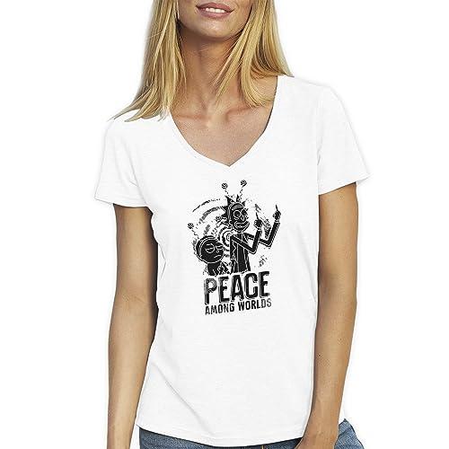 Friendly Bees Rick and Morty Peace Among Worlds no 2 TV Series Black T-Shirt Camiseta Cuello V para ...