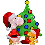 productworks 32 inch pre lit peanuts snoopy and woodstock christmas yard decoration set - Snoopy Christmas Lights