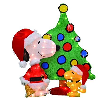 productworks 32 inch pre lit peanuts snoopy and woodstock christmas yard decoration set