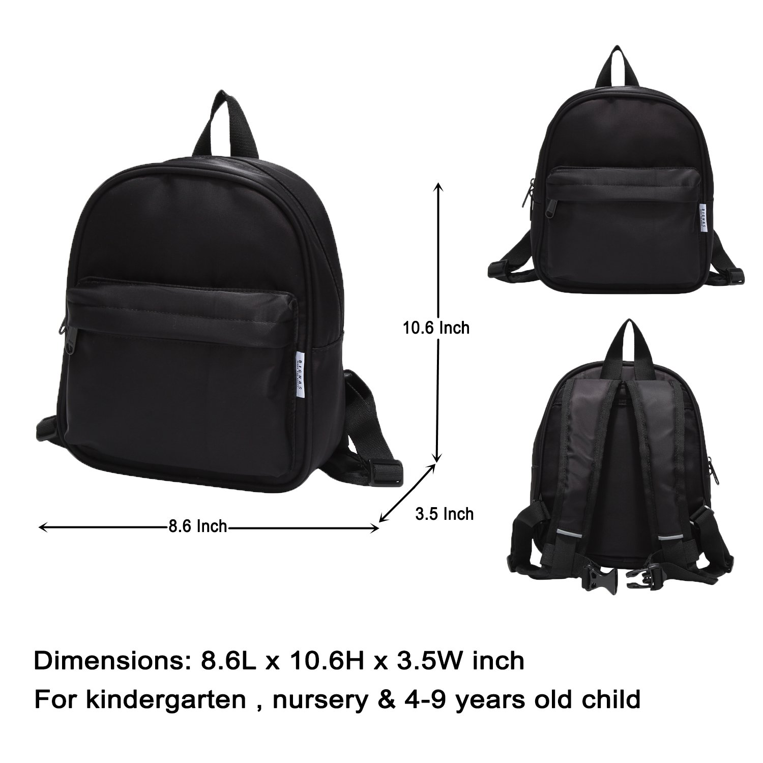 93e801d42e BIGHAS Lightweight Mini Kids Backpack for Preschool Kindergarten Boys and  Girls with Chest Strap 3-6 Years Old (Black)  Amazon.co.uk  Clothing