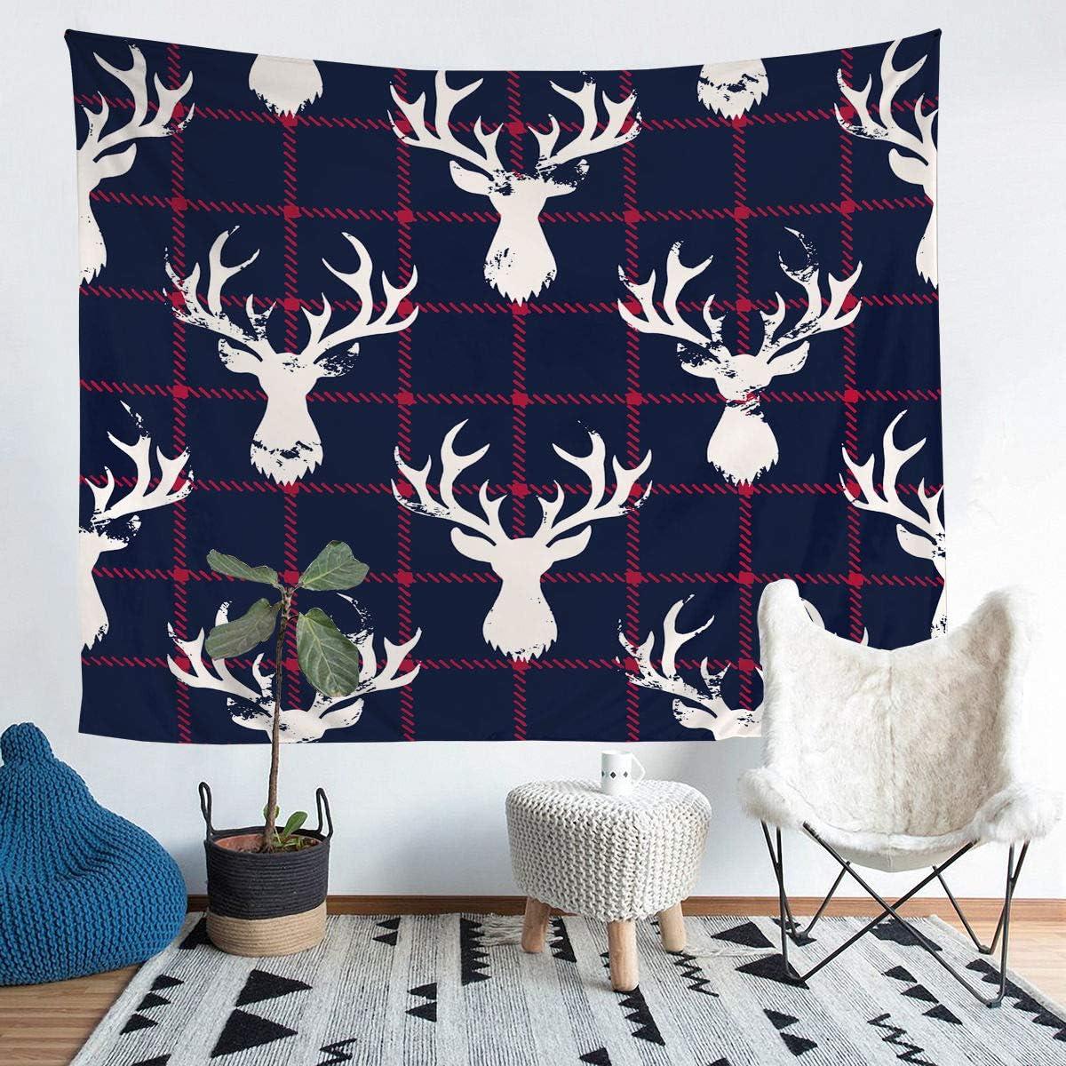 Erosebridal Elk Tapestry, Christmas Tapestries, Deer Head Wildlife Bedding Throw Blanket, Animal Plaid Pattern Print Wall Hangings Wall Art Living Room Dorm Decor for Adult Medium 59x59