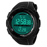 Mens Sports Digital Watch - 5 Bars Waterproof Military Digital Watches with Alarm/Timer/SIG, Black Large Face Outdoor Sport LED Wrist Watch for Men by BHGWR