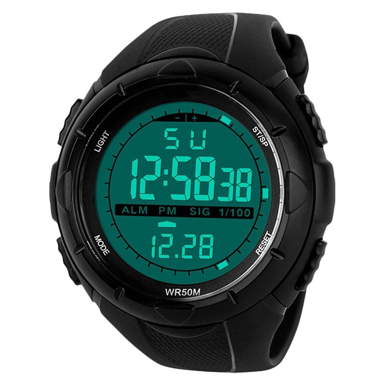 Para la práctica de deportes reloj Digital - 5 bares impermeable militar de los relojes digitales con alarma/Sig, Negro Grande Cara al aire libre deporte LED reloj de pulsera para hombres por BHGWR