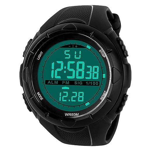 Para la práctica de deportes reloj Digital - 5 bares impermeable militar de los relojes digitales con alarma/Sig, Negro Grande Cara al aire libre deporte ...