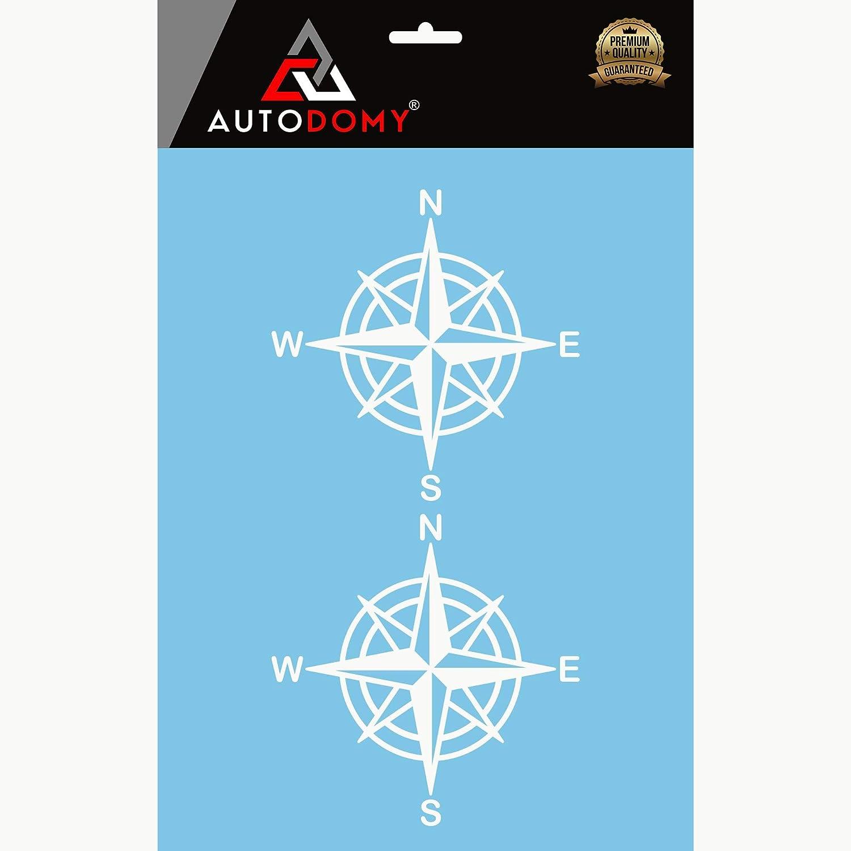 Nero, 10 Cm Autodomy Confezione Adesivi Bussola Rosa dei Venti Trail off Road Sport Adventure 4x4 2 Pezzi per Auto o Moto