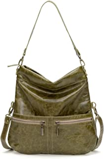 product image for Distressed Green Italian Leather Medium Convertible Foldover Crossbody