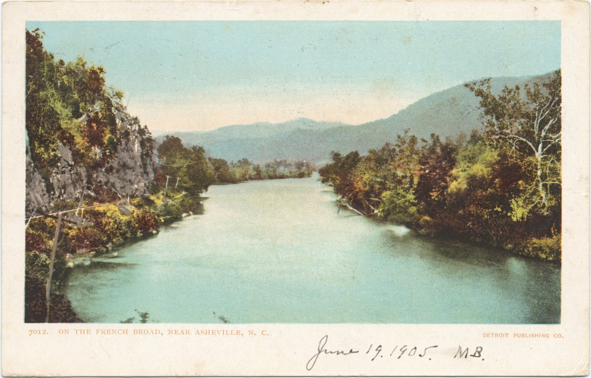 Historic Pictoric Postcard Print - On the French Broad, near Asheville, N. C, 1903 - Vintage Fine Art by Historic Pictoric