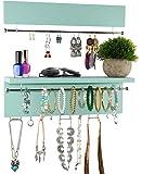 Spiretro Wall Mount Set of 2 Jewelry Organizer Holder Rack, Removable Sliver Metal Bar Display Earrings Bracelets, Hooks…