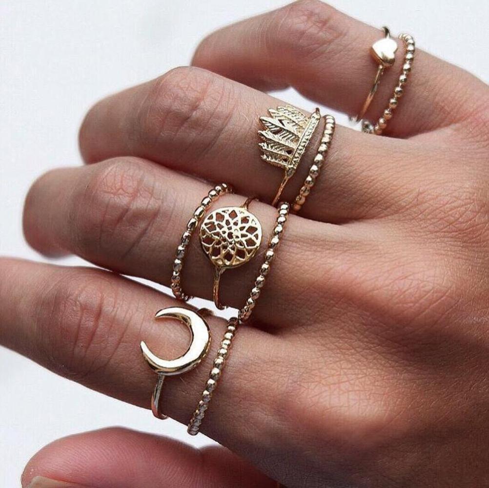 Wensltd Clearance! 9pcs/Set Women Bohemian Vintage Silver Stack Rings Above Knuckle Blue Rings Set