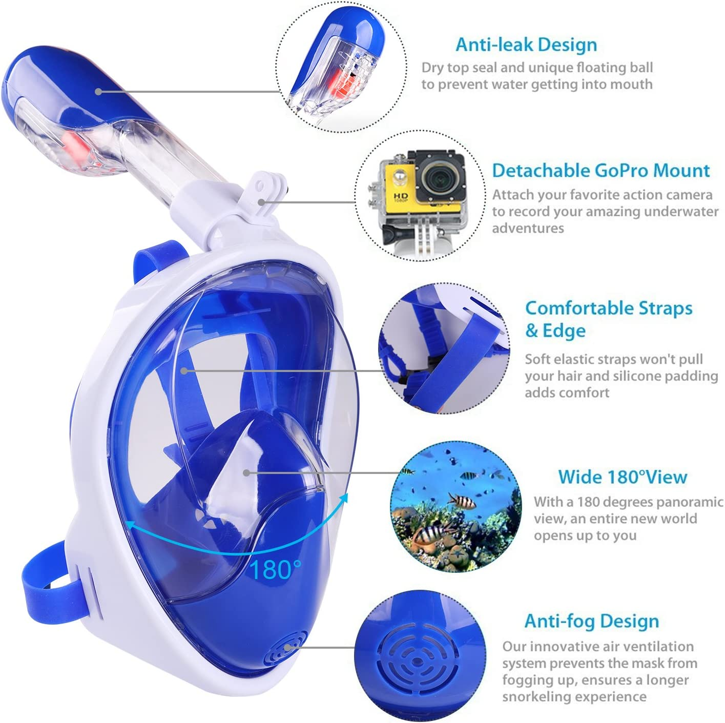See More Water World Larger Viewing Area Panoramic Seaview 180/° Scuba Mask Anti-Fog Anti-Leak Snorkeling Technology AQUA A DIVE SPORTS Snorkel Mask Full Face Diving Mask