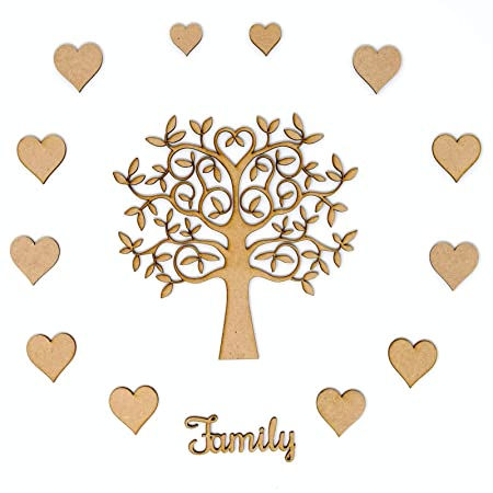 family tree set kit mdf tree 12 x hearts and family wording make