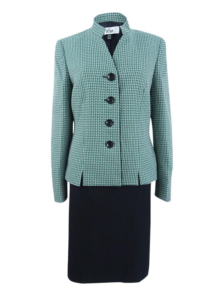 Le Suit Women's Four-Button Tweed Skirt (10, Emerald/Black)