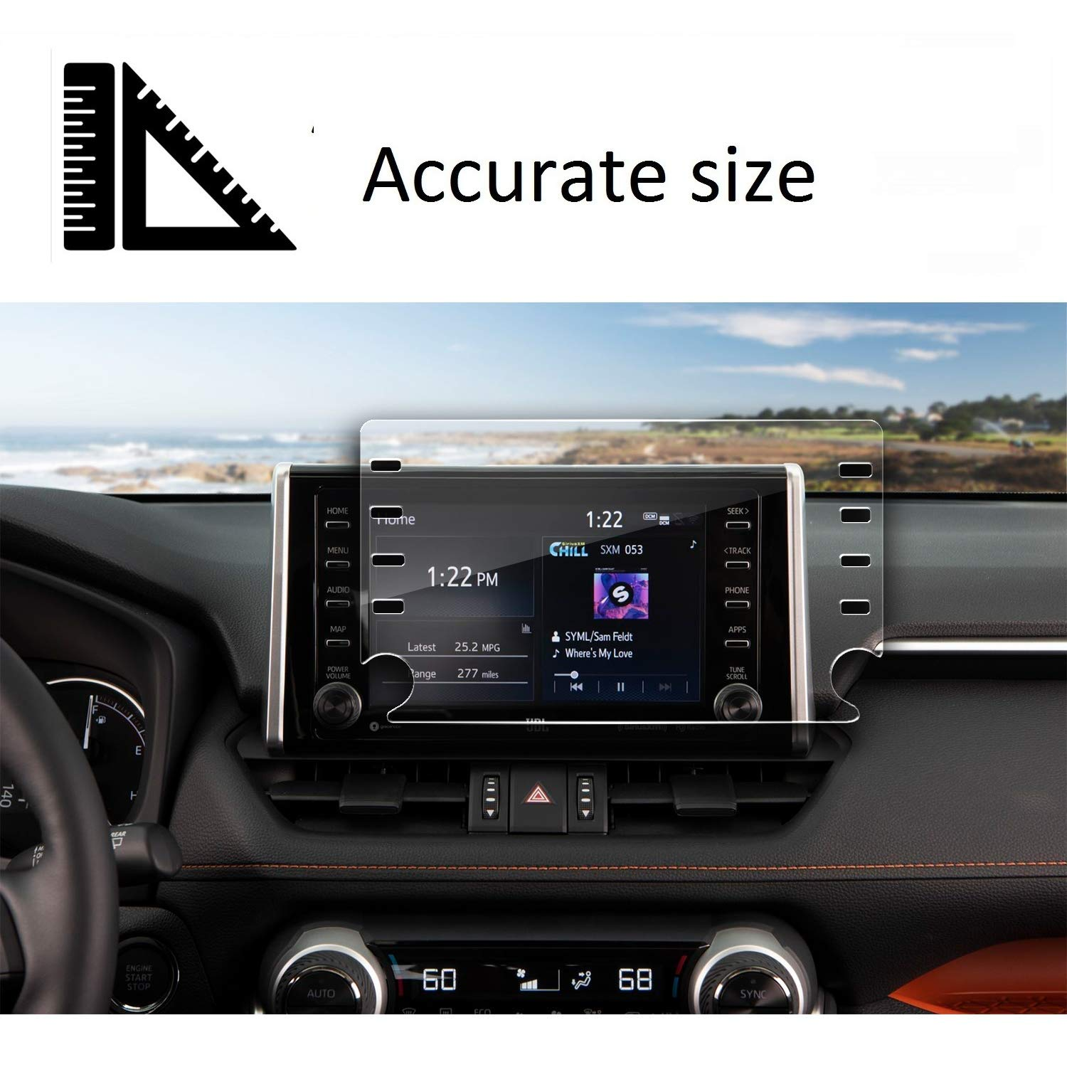 """ZFM Tempered Glass Screen Protector Compatible with Toyota C-HR 2019 2020,9H Hardness,High Definition,Protecting Toyota 8/"""" Car Center Touch Screen"""