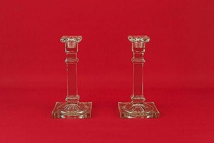 2 Art Deco atractivo limón exprimidor Holder candelabros claro Vintage de cristal 1930s Inglés LS