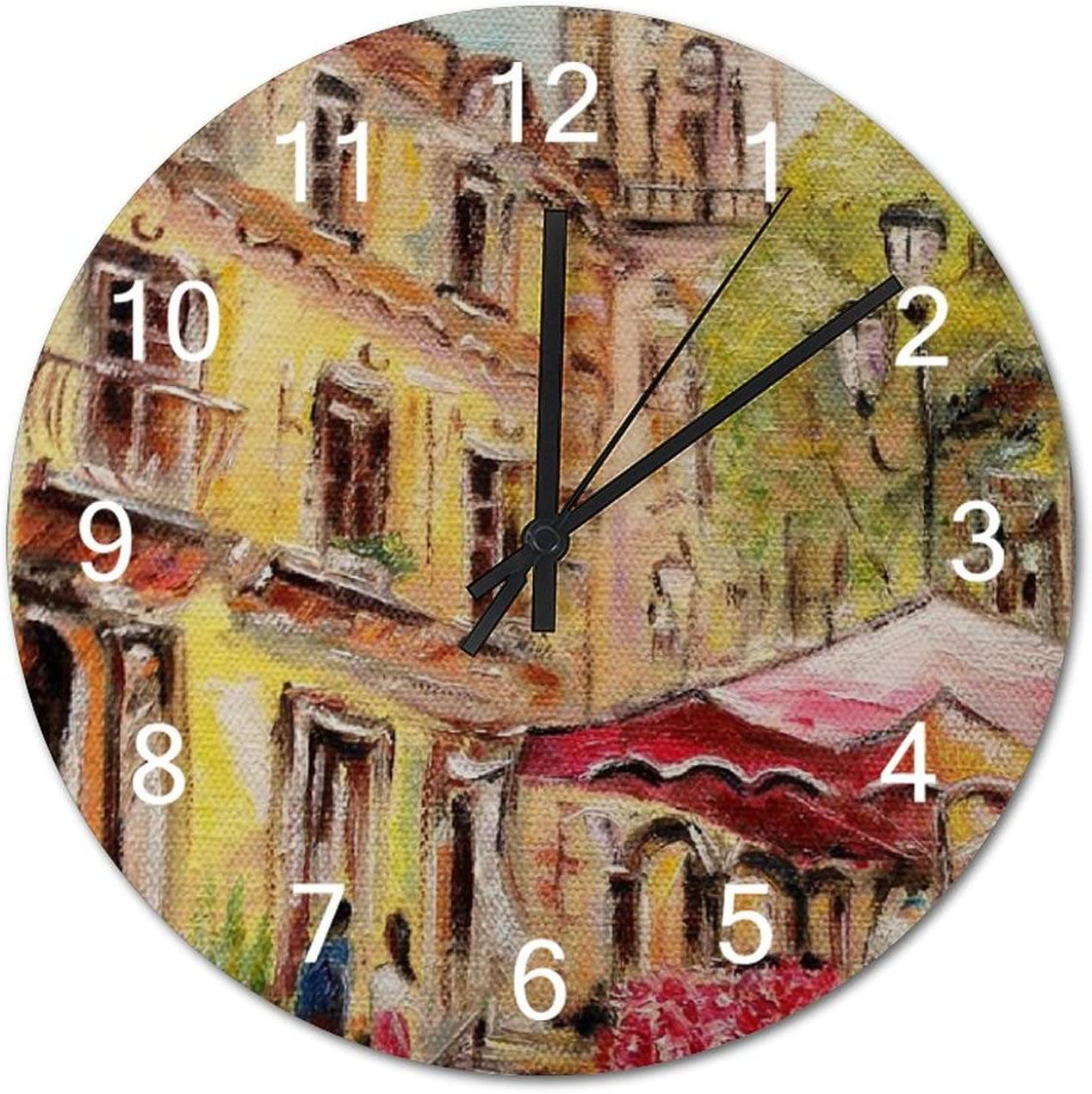 Oil Painting Marche Aux Fleurs Battery Operated Non Ticking Silent Art Wall Clock Desk Clock Decor 12x12 Inch
