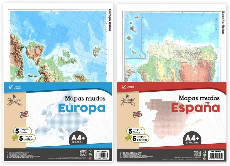 EA4505 - Mapas mudos de España y de Europa, mapas físicos y políticos, 20 hojas en total, tamaño A4+ (22,5 x 32,5cm): Amazon.es: Oficina y papelería