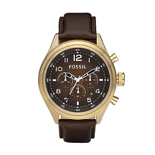 FOSSIL DE5002 - Reloj cronógrafo de cuarzo para hombre con correa de piel, color marrón: Fossil: Amazon.es: Relojes