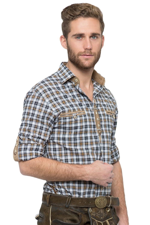 OS-Trachten Herren Trachtenhemd Dean braun/schwarz H040081