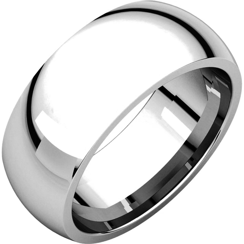 Men's and Women's Platinum, 8mm Wide, Heavy Comfort Fit, Plain Wedding Band - Size 12