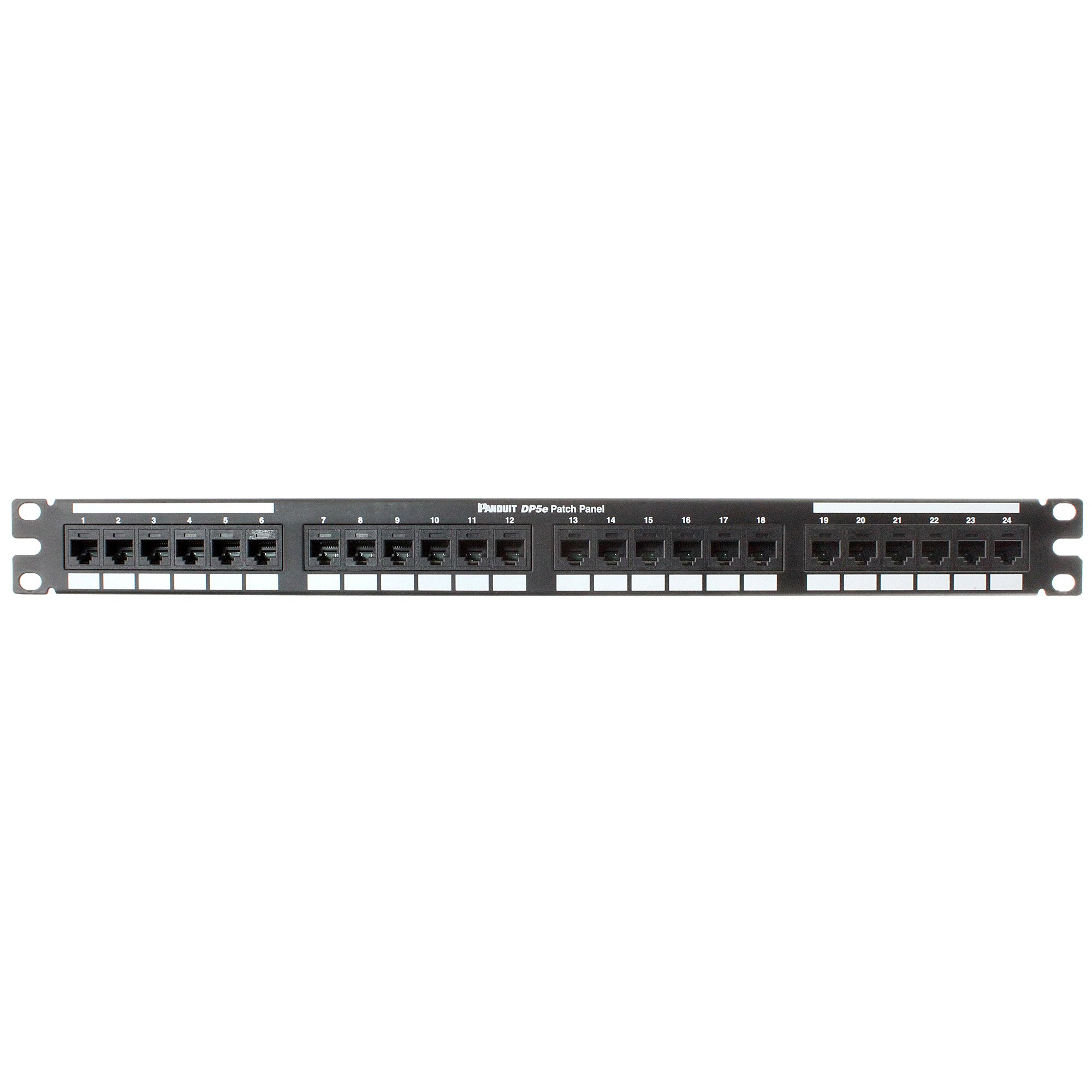 Panduit DP245E88TGY Category-5E 24-Port Flat Punchdown Patch Panel, Black