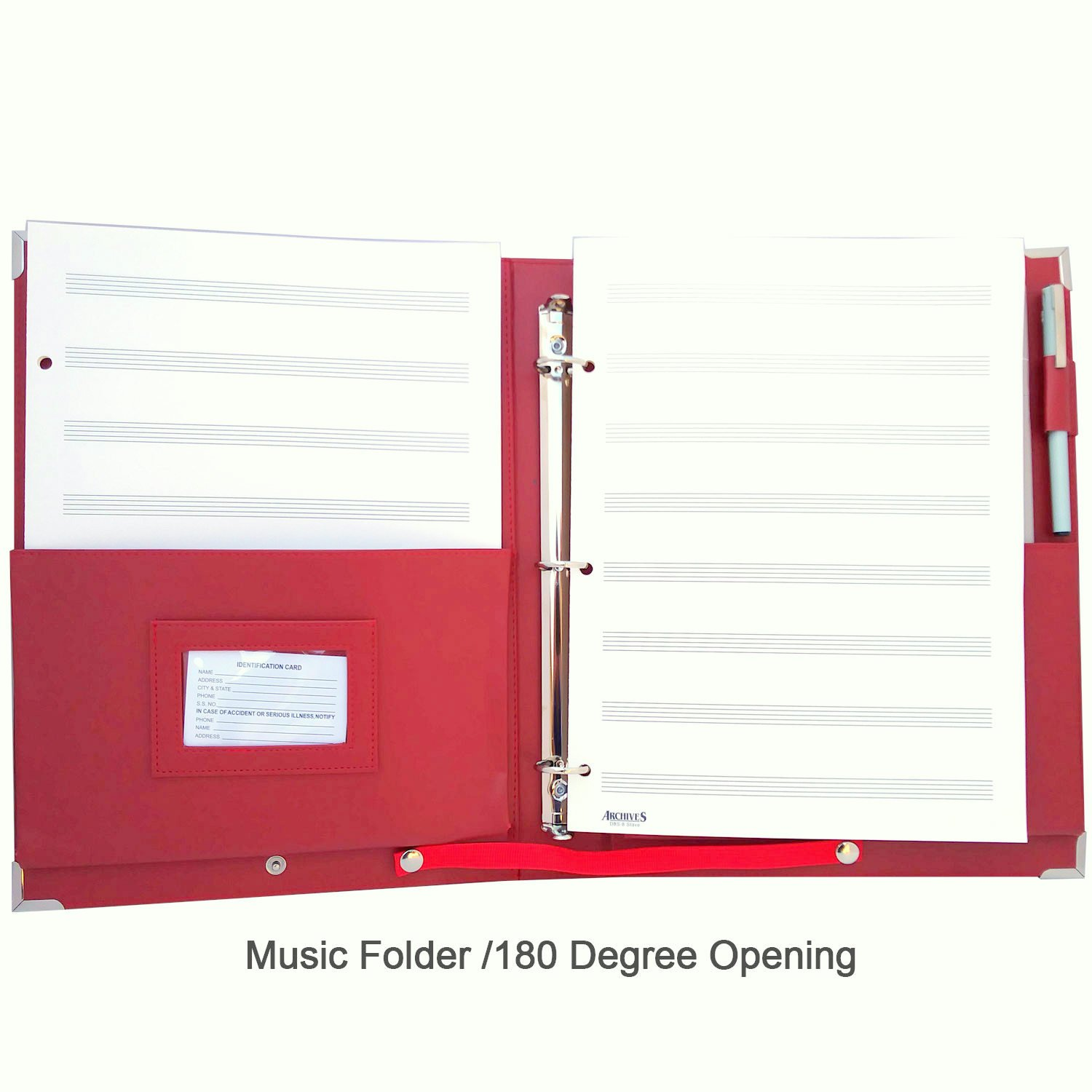 MSP Sheet Music/Choir Folder 10 x 13.5'' with Detachable Strap and 3 Ring Binders (Red)
