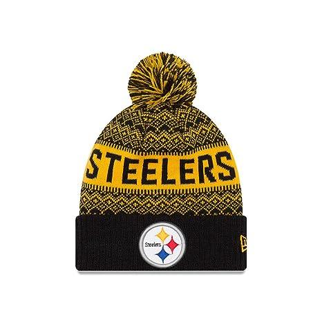 Amazon.com   Pittsburgh Steelers New Era Wintry Pom 2 Pom Knit ... 1fc0d150b2b