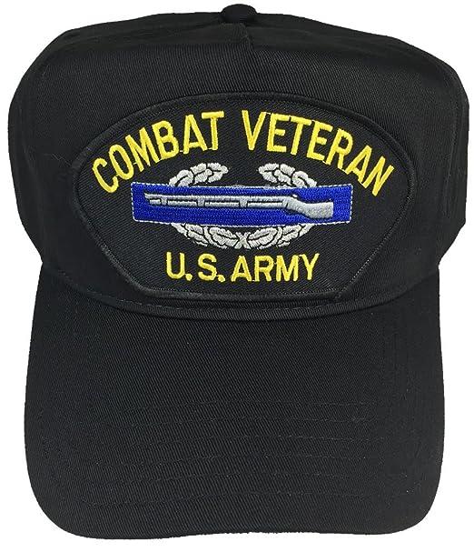 COMBAT VETERAN US ARMY W/ COMBAT INFANTRY BADGE CIB HAT - BLACK - Veteran  Owned Business