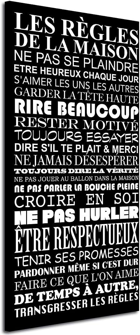 Declina Tableau Deco Citation Les Règles De La Maison Impression Citation Sur Toile Décoration Murale Déco Maison Cuisine Salon Chambre Adulte
